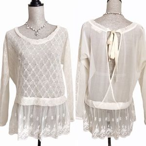 Anthropologie a'reve Lace Embroidered Blouse Top